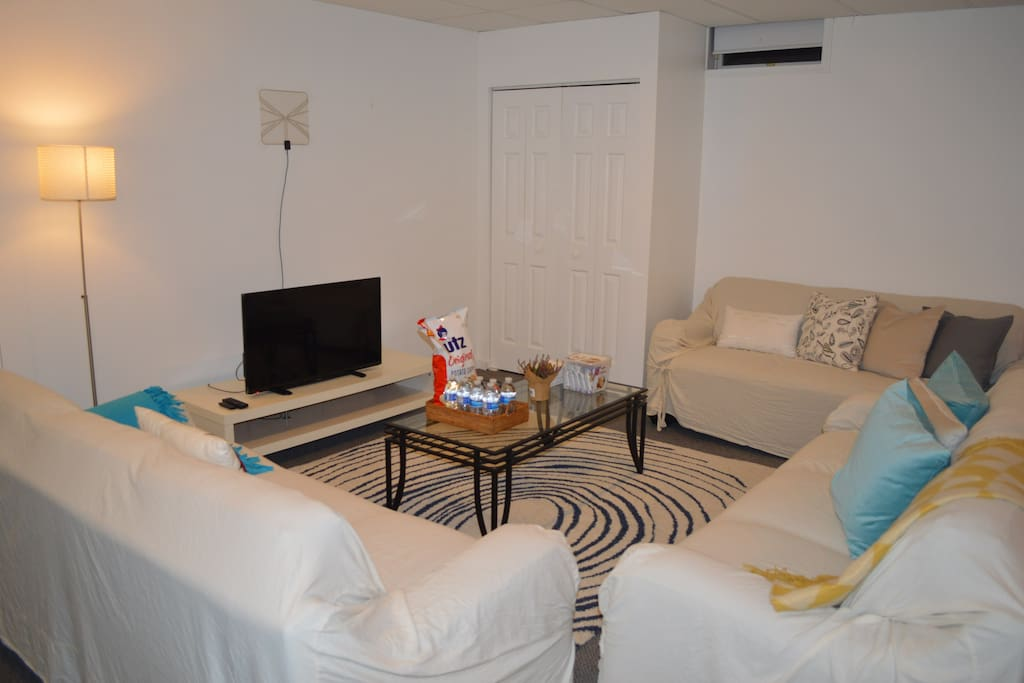 Flat screen TV equipped with Amazon Fire TV, coffe table and three comfortable sofas.