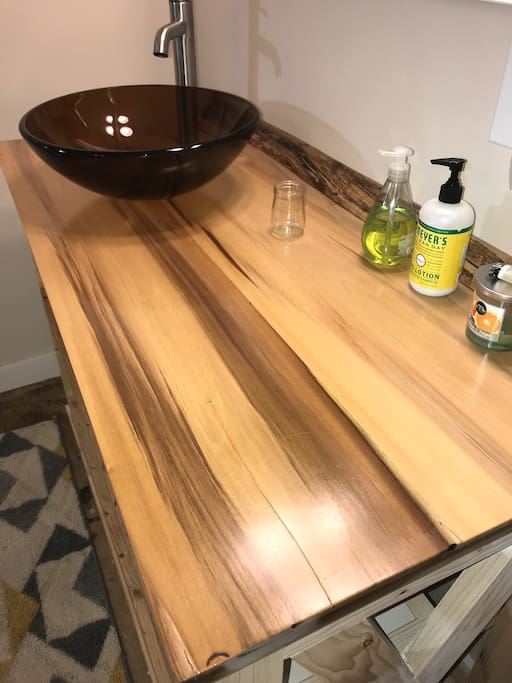Beautiful poplar counter top with vessel sink