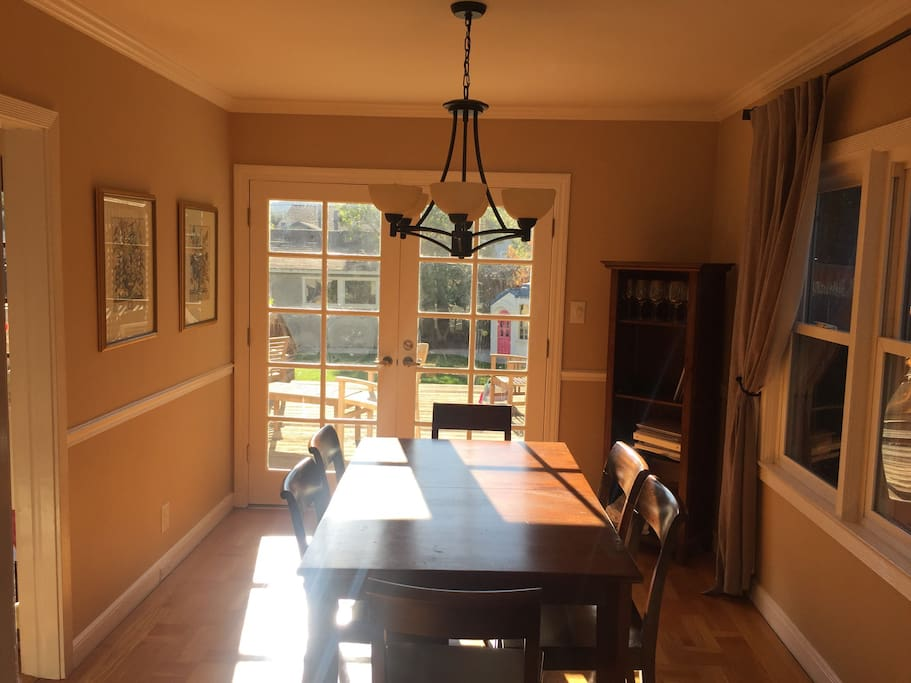 Dining room with French doors to deck