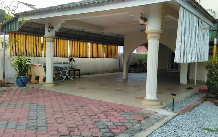 Parking space and BBQ area
