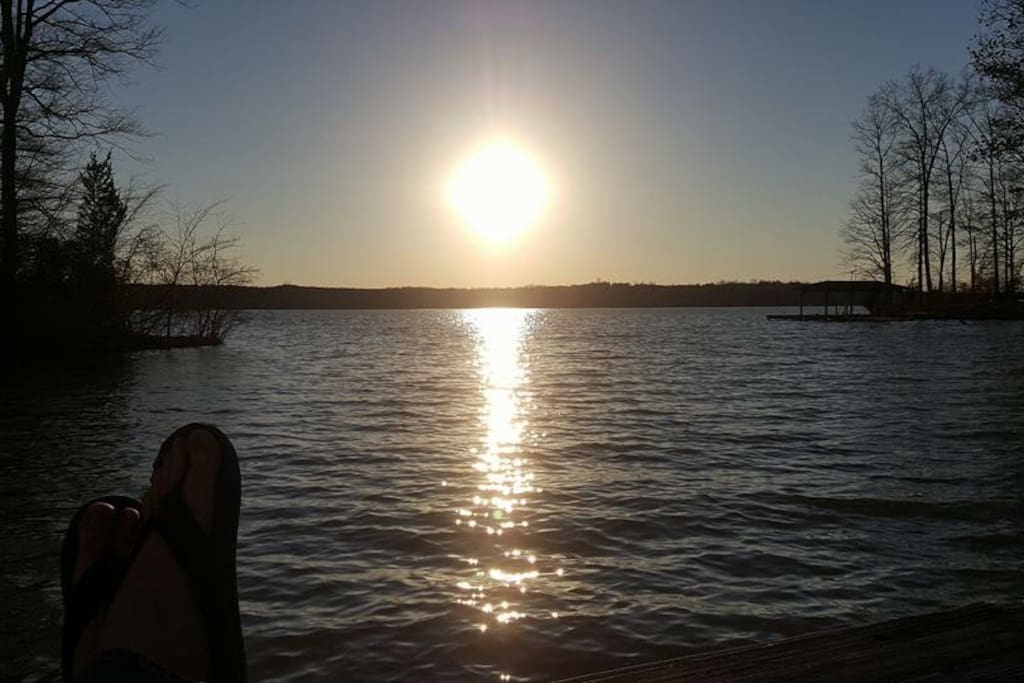 Sunset over the lake from the dock.