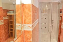 "Colorful bathroom with modern ""radio shower"""