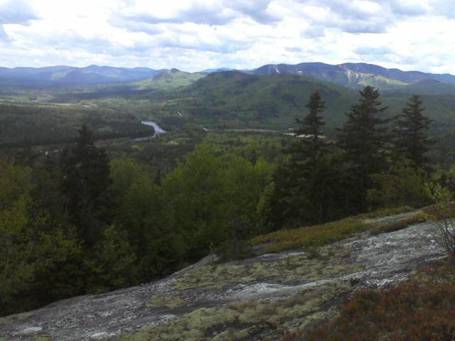 A short hike from the cabin leads up to a ledge overlooking the Androscoggin Valley. Sunday River Ski Area is on the right.