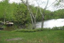Log Cabin on Lovely Mountain Pond