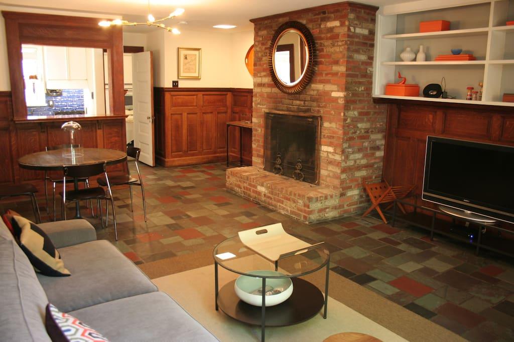 Massive, gorgeous, original 200-yr brick fireplace