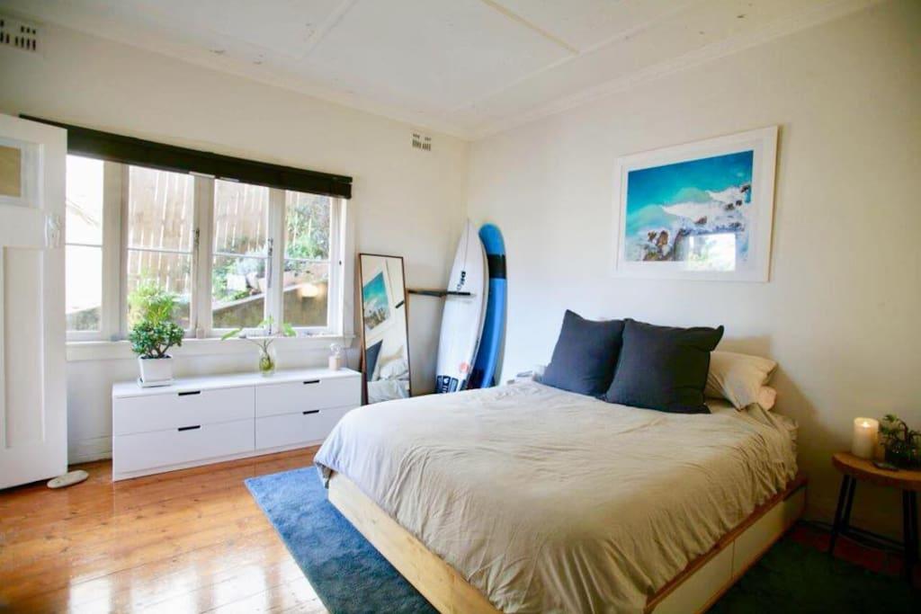 Master bedroom - Queen bed, large built-in wardrobe (not pictured)