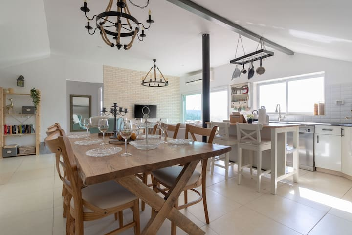 Dining table with kitchen