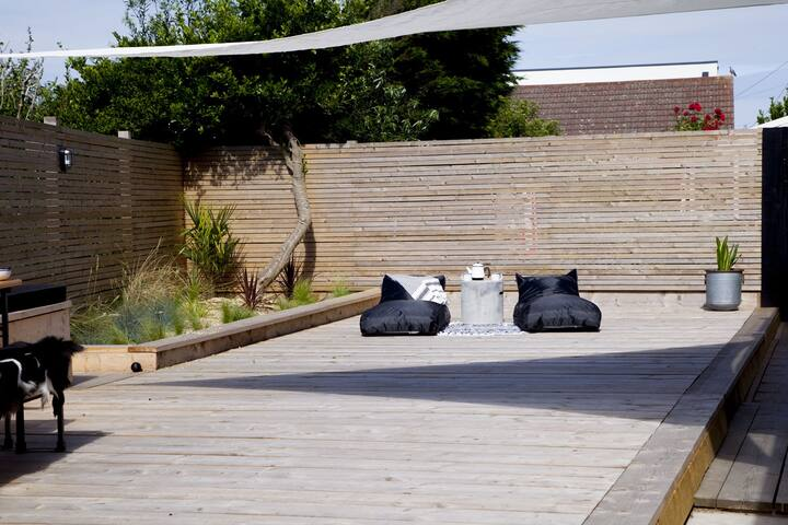 Super Comfy Bean Bag Sun Loungers on 40 ft Deck