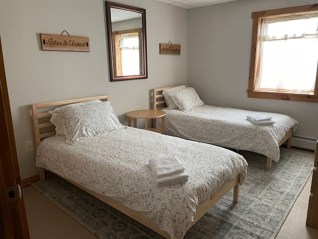 Cozy bedroom downstairs perfect for two.  Relax and unwind!