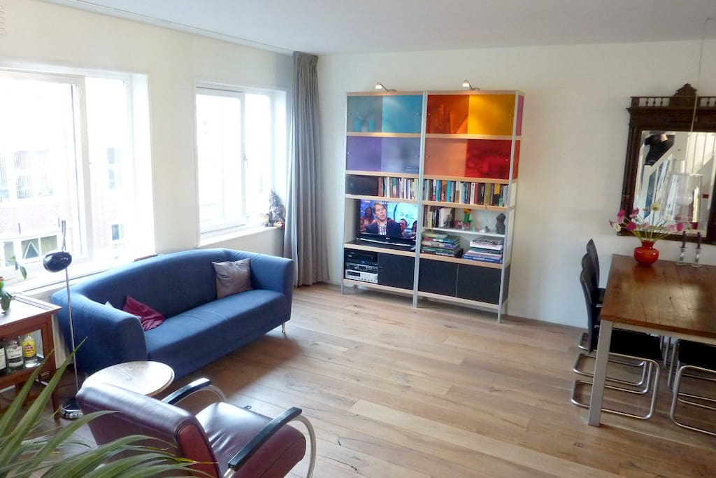 Bright living room with television, DVD and stereo
