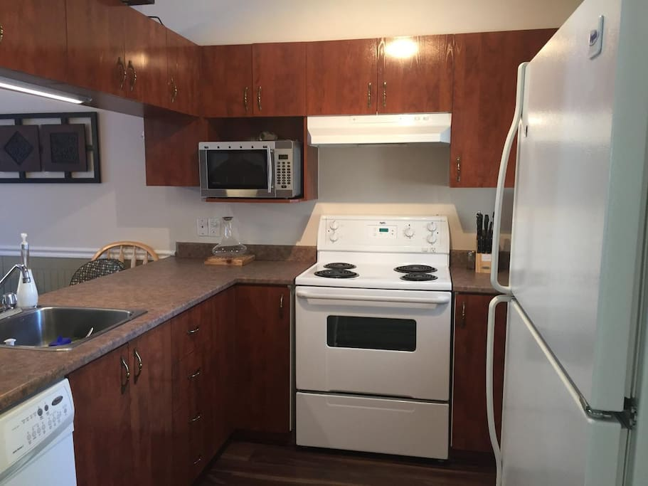 Stove, fridge, dishwasher, microwave, toaster oven and coffee maker.