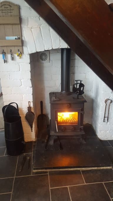 Woodburner in Kitchen