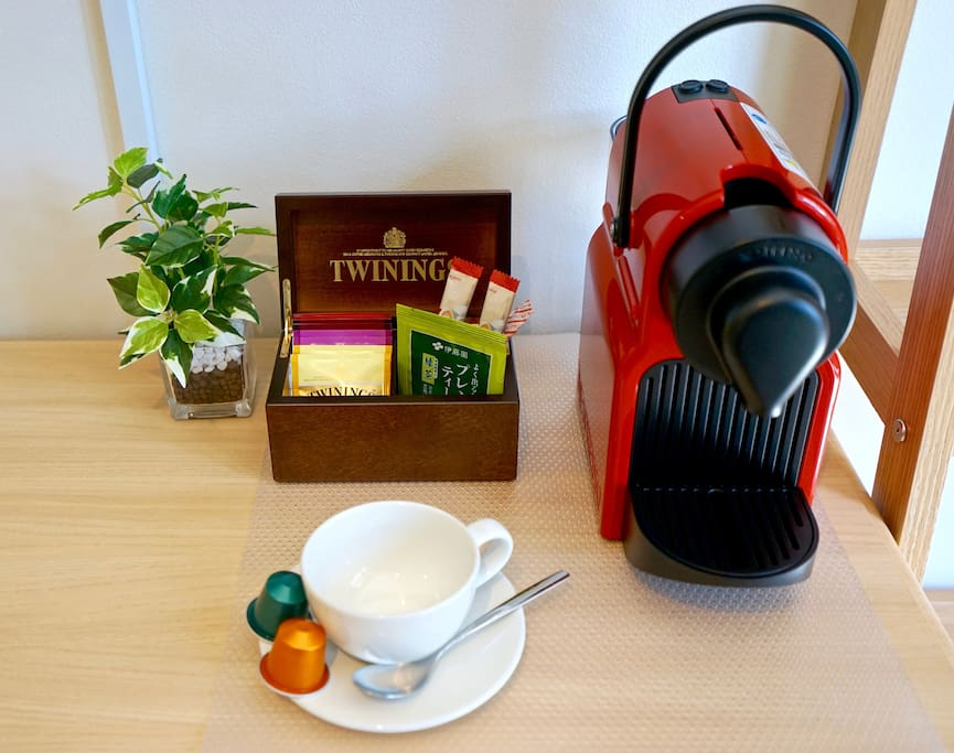 Start your day right with Nespresso coffee and Twinings tea.