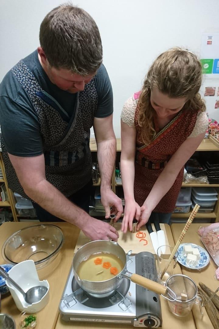 Cut vegetables for Miso Soup