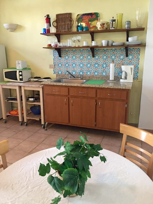 Kitchen has a Microwave, coffee maker, toaster and a two burner stovetop