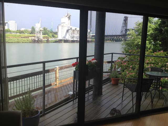 Our view of the Willamette, balcony and bistro set.