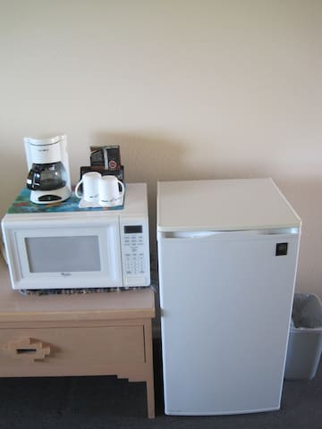 Each room has a microwave, coffee machine and mini fridge/freezer for your convenience.