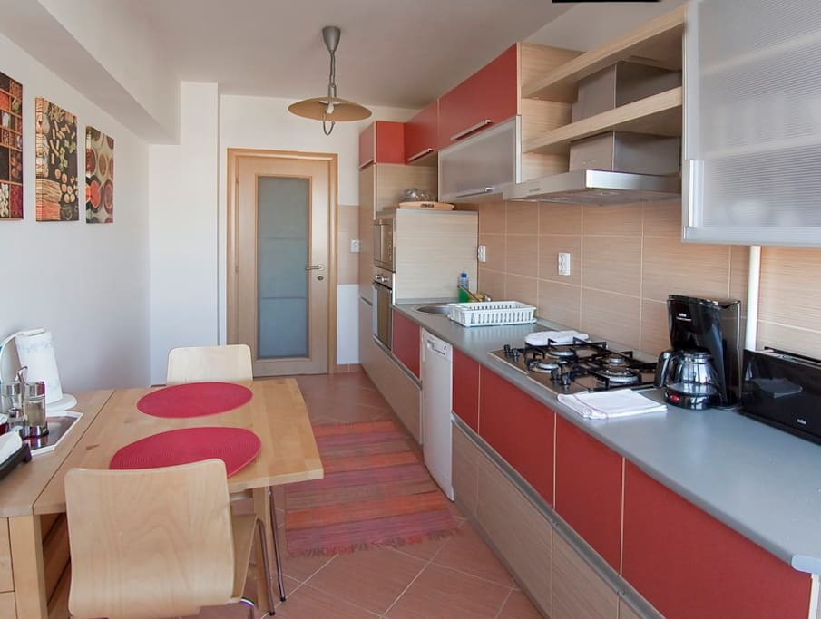Fully equipped kitchen with new appliances, such as cooking stove, dishwasher, hood, microwave oven, toaster, coffee maker, refrigerator