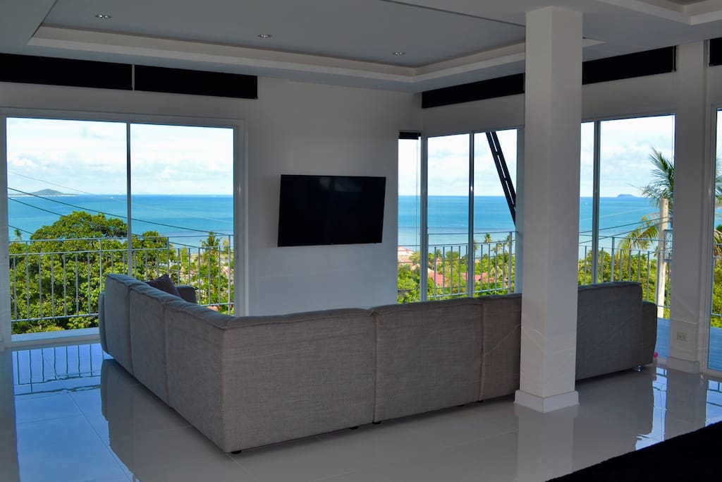 Livingroom area with some of the best Sea Views in Koh Samui