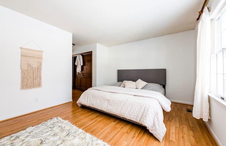 Master bedroom, king bed, private bathroom