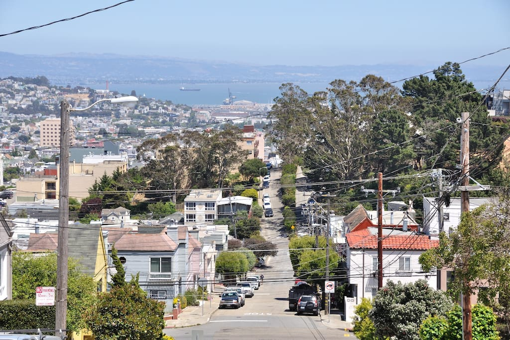 Beautiful view of Bay area from the street.