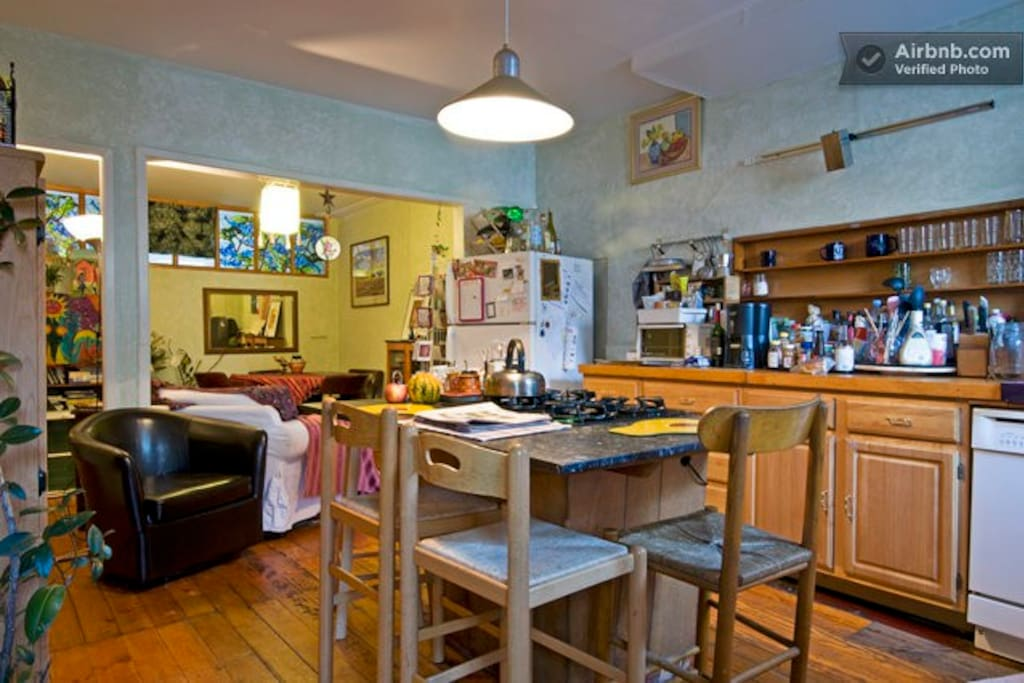 The Community Be Good Guest House kitchen dining area.  Guest are welcome to gently use this space.
