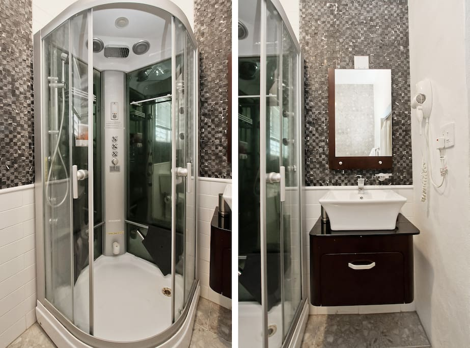 Updated bathroom with steam shower...A must do experience.