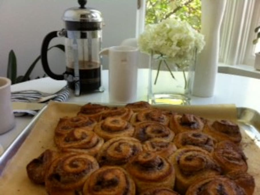Upstairs kitchen, fresh baked cinnamon buns. Yum!