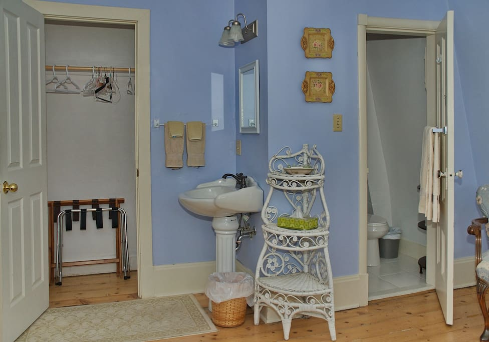 Water closet with toilet and shower and external vanity/sink area.