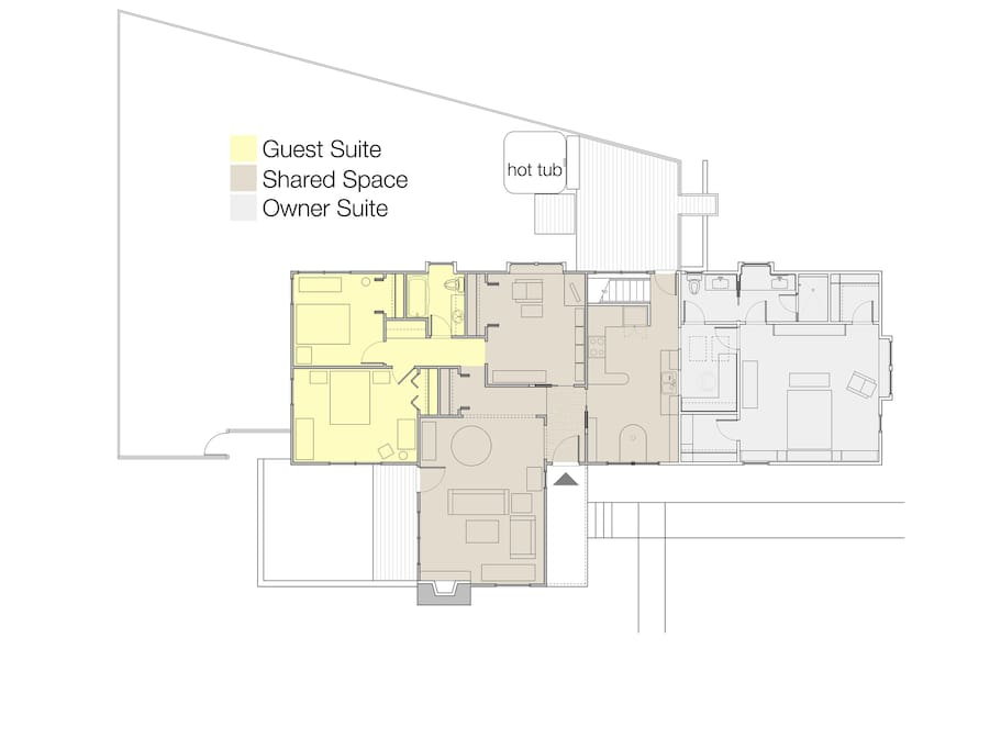 plan with guest suite in yellow