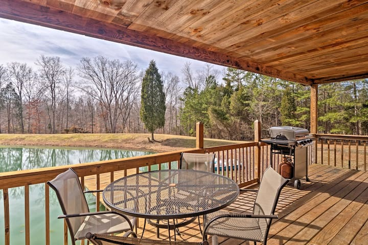 Quaint Derby Cabin w/ Spacious Deck, Grill & Pond!