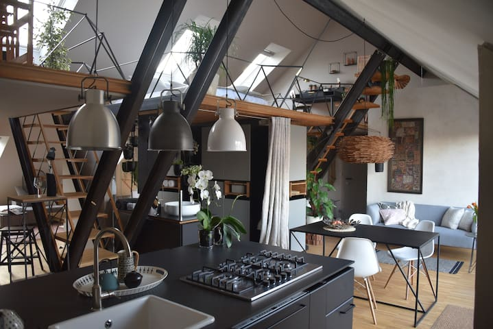 Spacious Double-height Apartment with Terrace