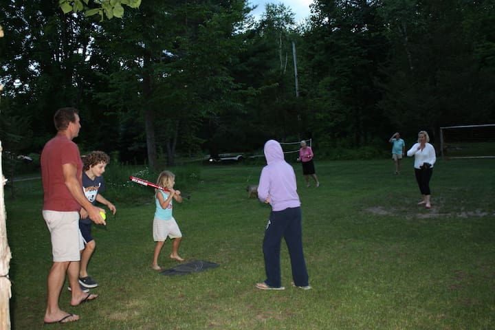 evening softball game on the soccer pitch