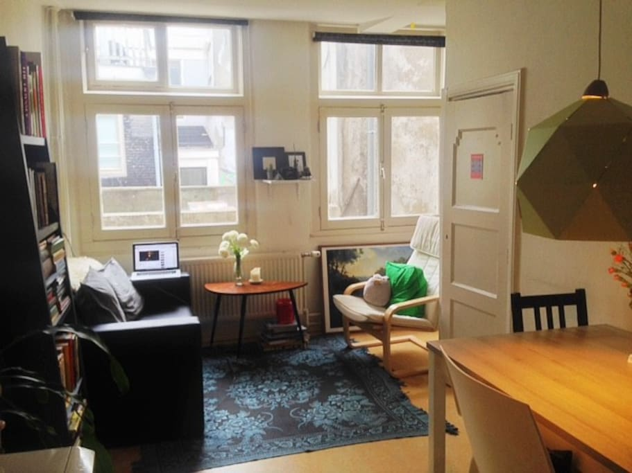 Open, spacious, and cozy living room and kitchenette. As you can see we have beautiful windows which really opens up the space. Feel free to open them up on warm days to catch some fresh air :)