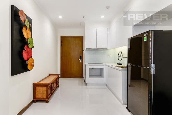 Our kitchen is furnished with big fridge, cooking equipments and cutlery