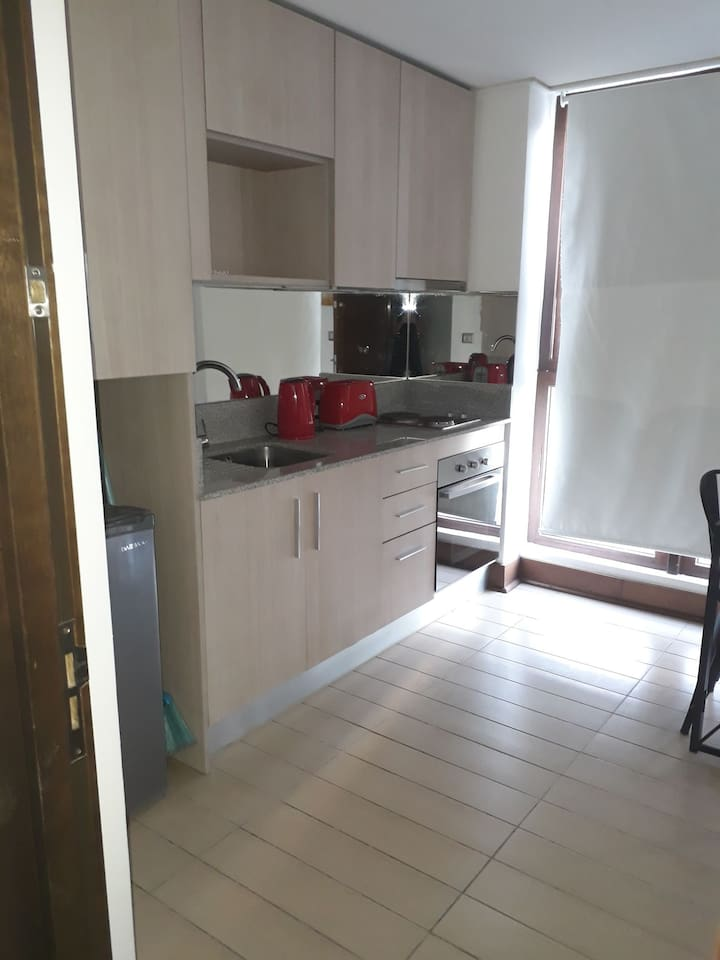 Cocina equipada ,frigobar, horno eléctrico, cocina 2 quemadores, equipada con vajilla, olla,sartén
