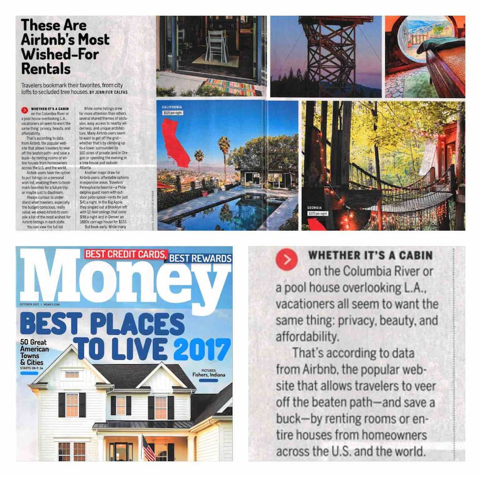 """Thanks to all of you, we were featured in Time, Money Magazine, Real Simple and Parade Magazine for being """"The Most Wished-For Listing in California""""!!!   https://www.realsimple.com/work-life/travel/destinations/best-airbnb-listings"""