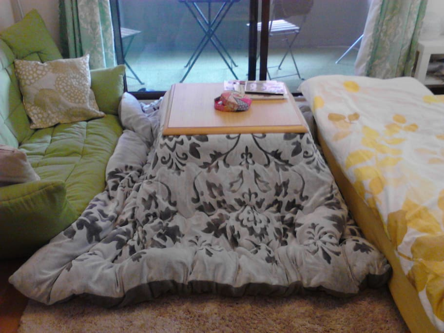 A kotatsu is a traditional heating system in Japan