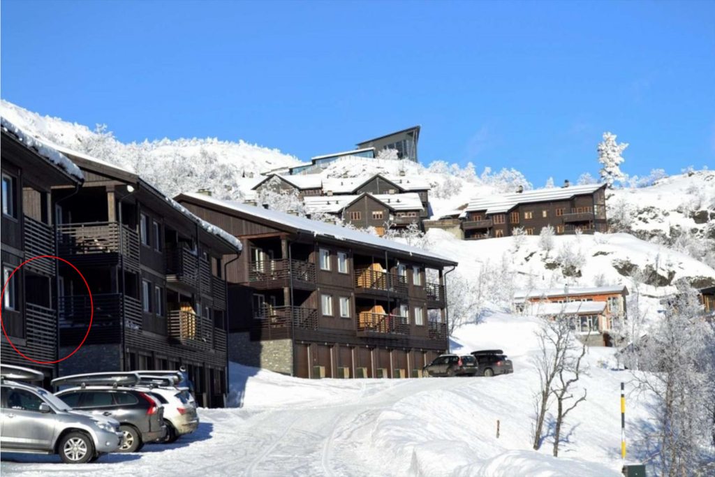 "The apartment seen from the road. The building on the top of the hill is Skarsnuten Hotel. Here you can go for after ski, drinks or dinner at the ""price winning"" restaurant. The walking distance is 10 minutes."