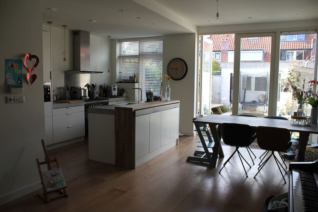 Large living room with new kitchen