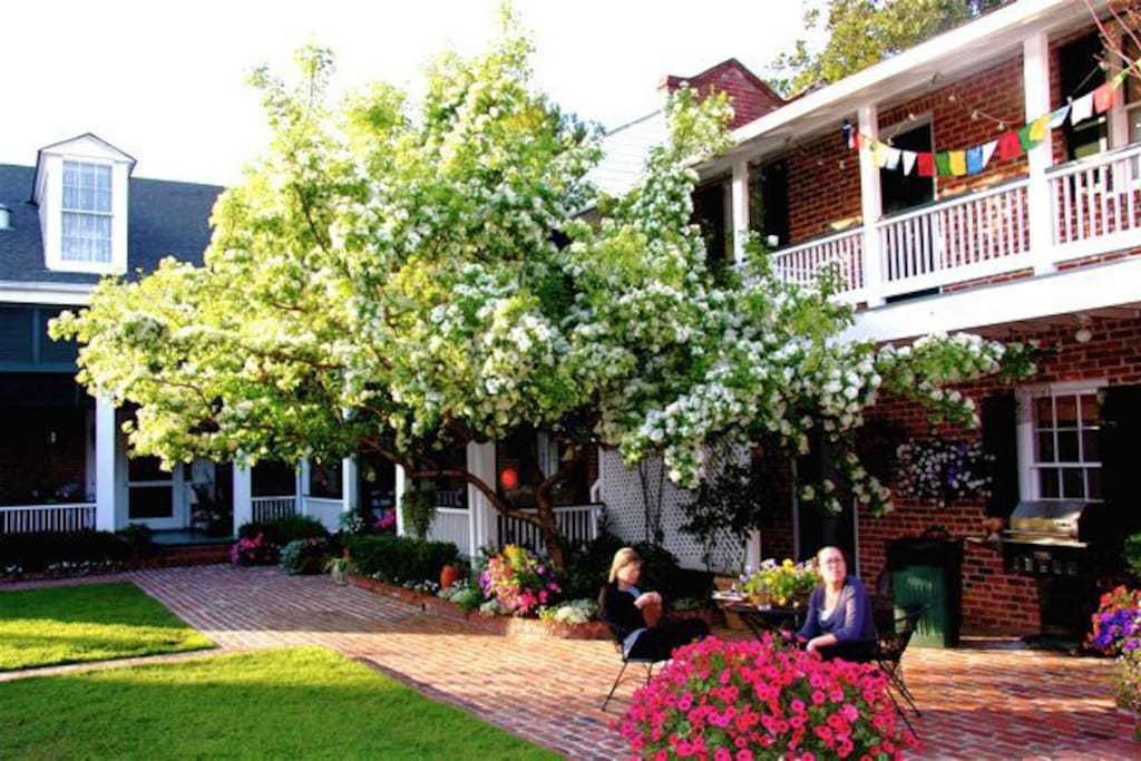 Courtyard and upstairs porch of B&B