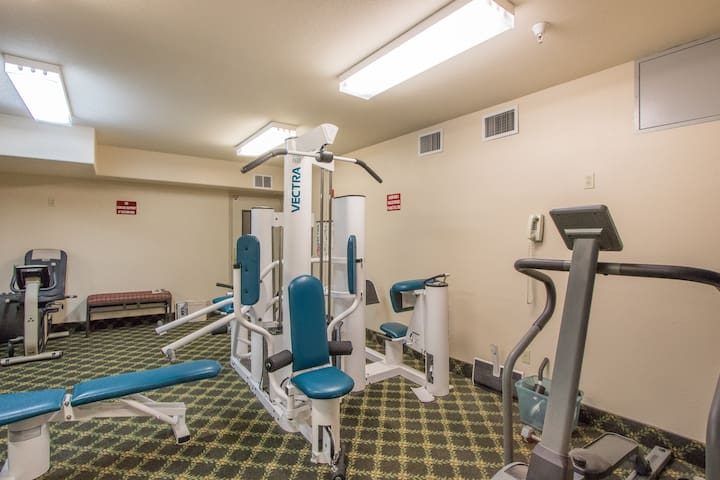 Exercise room is down the hall