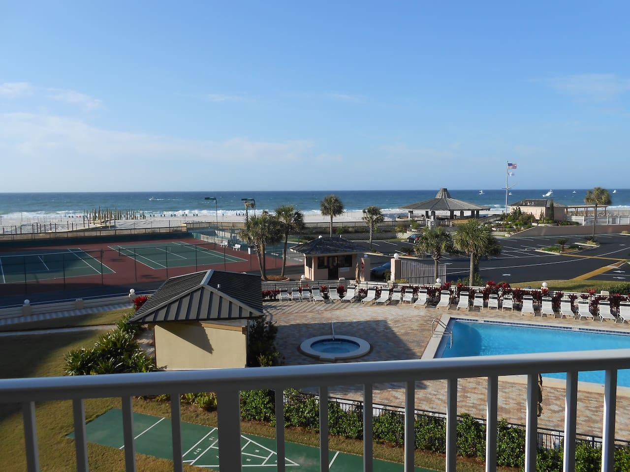 An ocean view from the balcony of unit 304. The distance to the beach is less than 100 feet (50 meters).