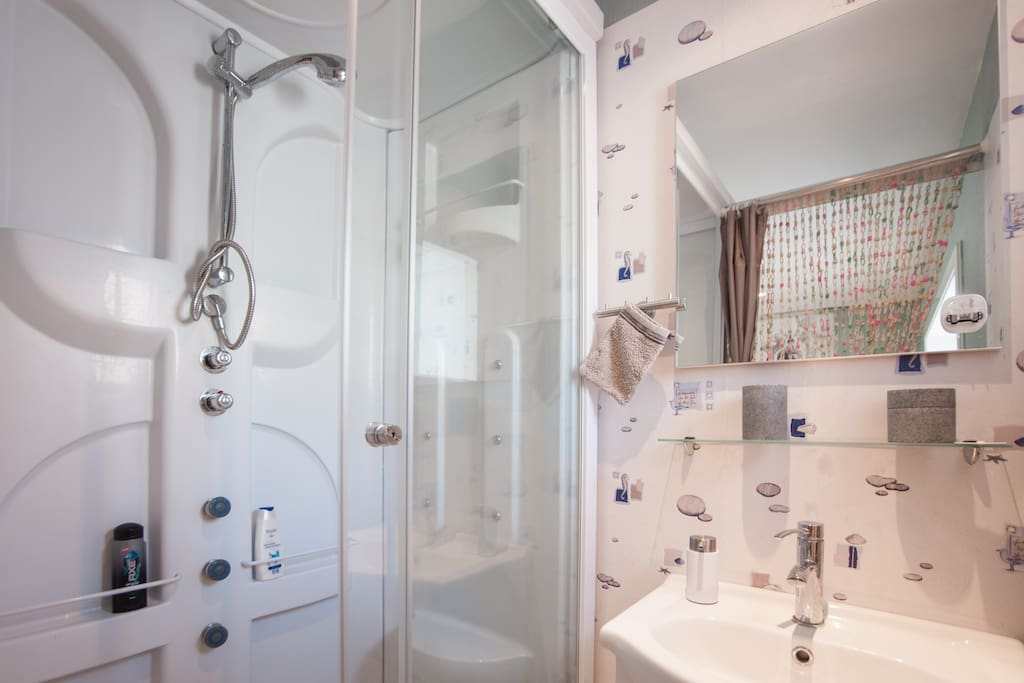 Your own private shower cabin and a sink