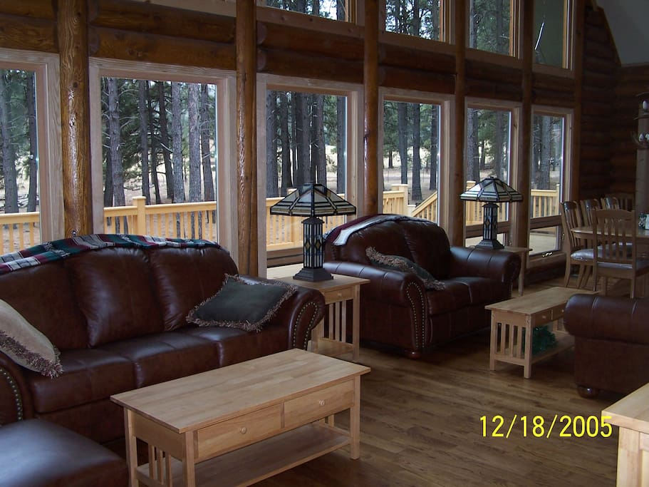 Living Room off spacious deck with magnificent view of the San Francisco Peaks.