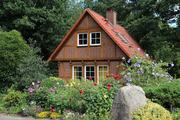 Beautiful timbered house on farm