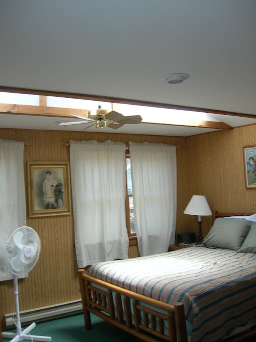 First floor bedroom with Queen Sealy Posturepedic Log Bed, Television, AC
