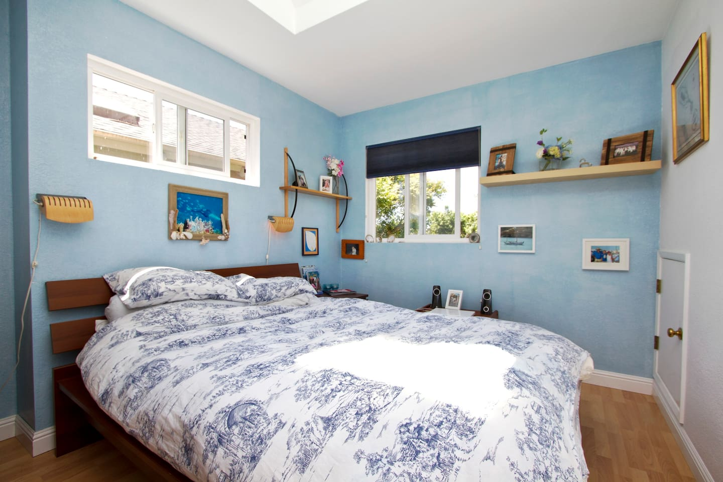 Master bedroom with skylights and ample natural light with queen bed.