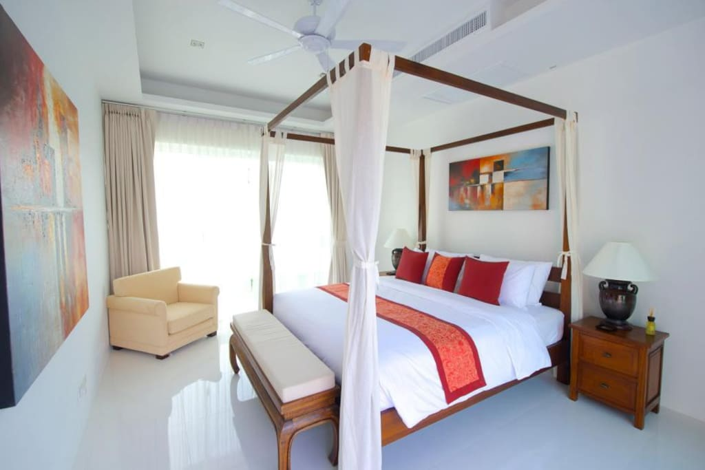 The beautiful Master Bedroom with ensuite bathroom, ceiling fan and air-conditioning
