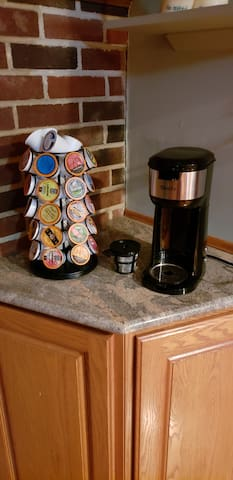 Feel free to bring your own K-cups or try one of ours at this k-cup station in the kitchen !